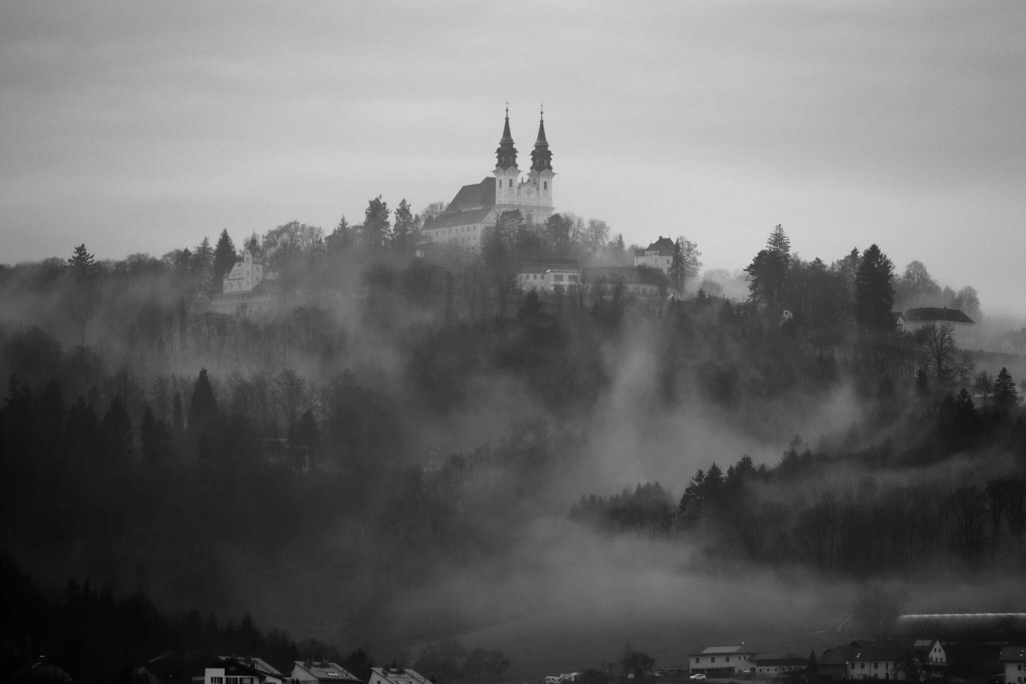 Nebel am Pöstlingberg in Linz